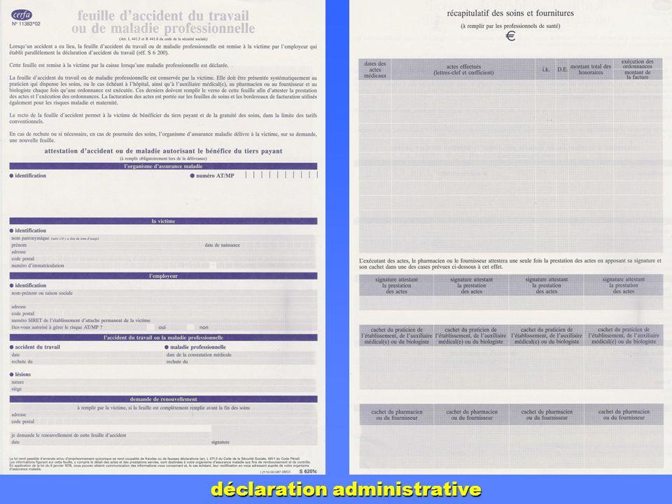 déclaration administrative