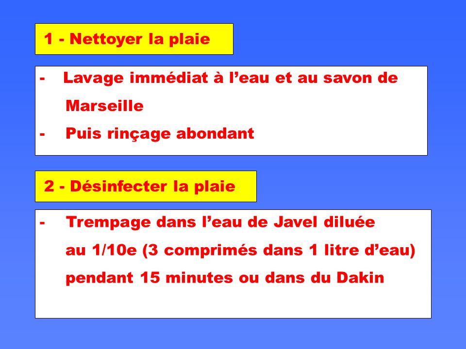 1 - Nettoyer la plaie Lavage immédiat à l'eau et au savon de. Marseille. - Puis rinçage abondant.