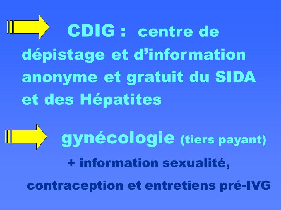 CDIG : centre de dépistage et d'information anonyme et gratuit du SIDA et des Hépatites