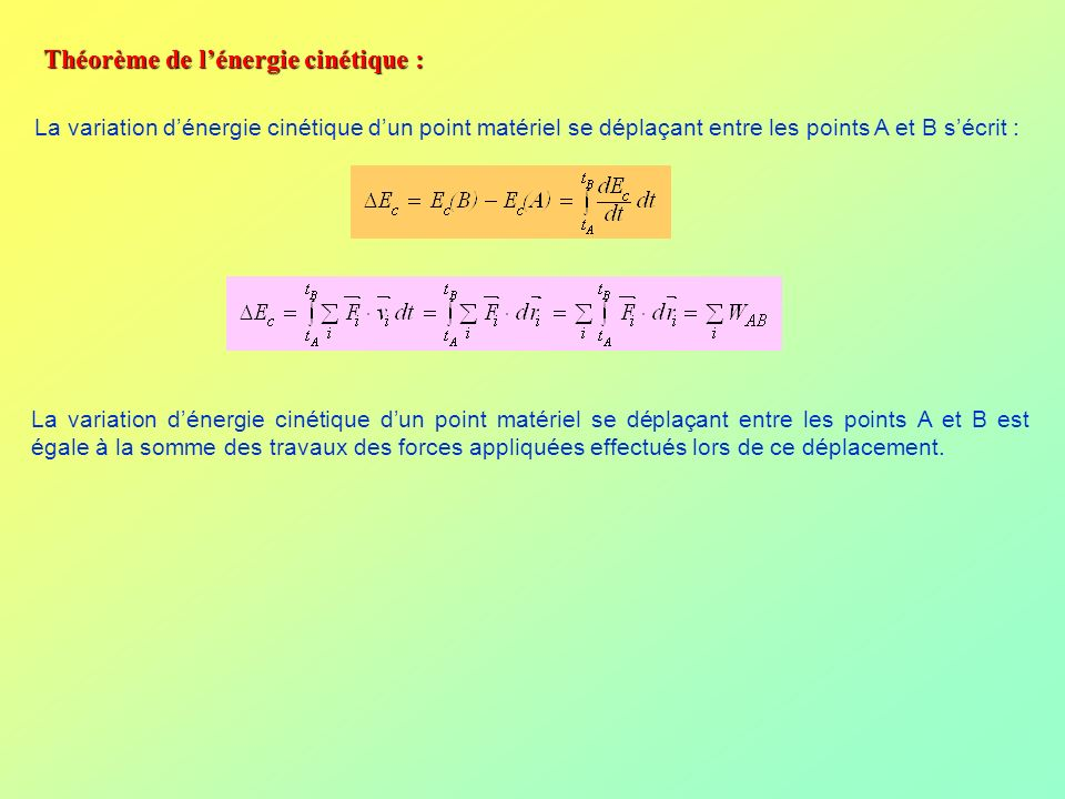 Théorème de l'énergie cinétique :