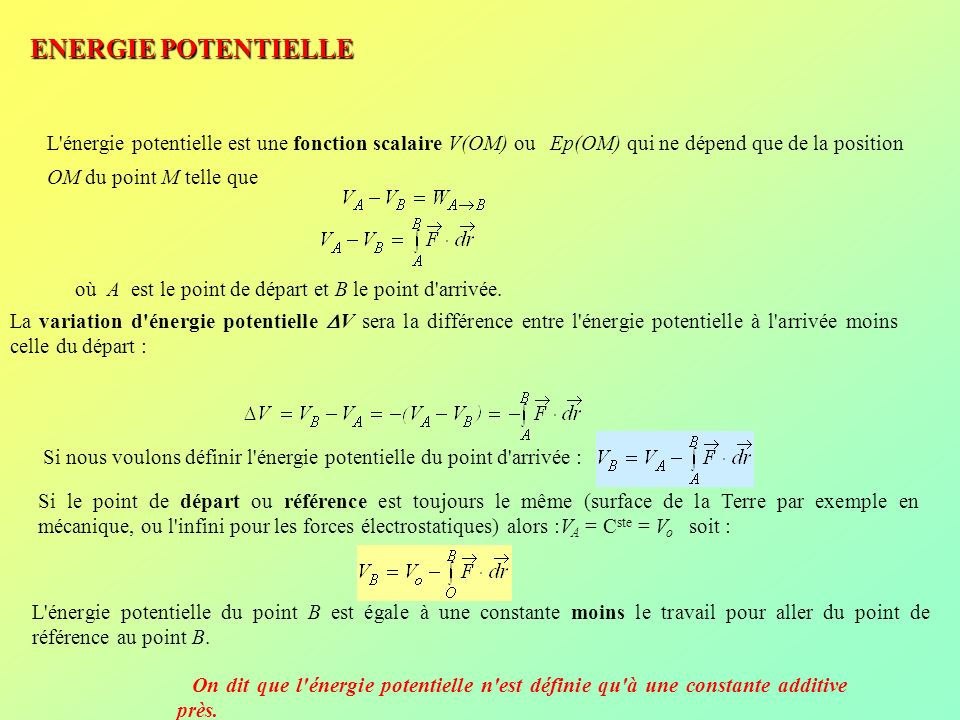 ENERGIE POTENTIELLE L énergie potentielle est une fonction scalaire V(OM) ou Ep(OM) qui ne dépend que de la position OM du point M telle que.