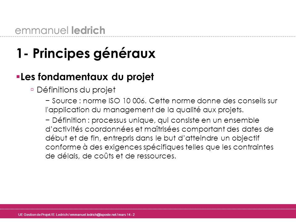 1- Principes généraux Les fondamentaux du projet Définitions du projet