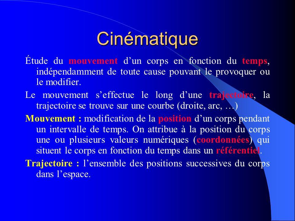 Cinématique Étude du mouvement d'un corps en fonction du temps, indépendamment de toute cause pouvant le provoquer ou le modifier.