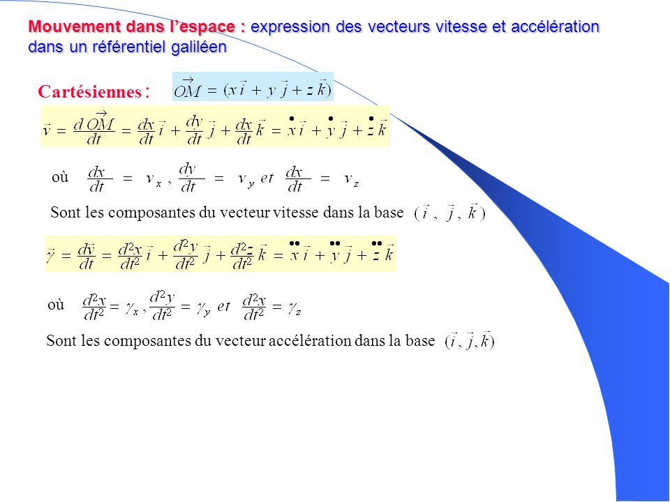 Mouvement dans l'espace : expression des vecteurs vitesse et accélération dans un référentiel galiléen