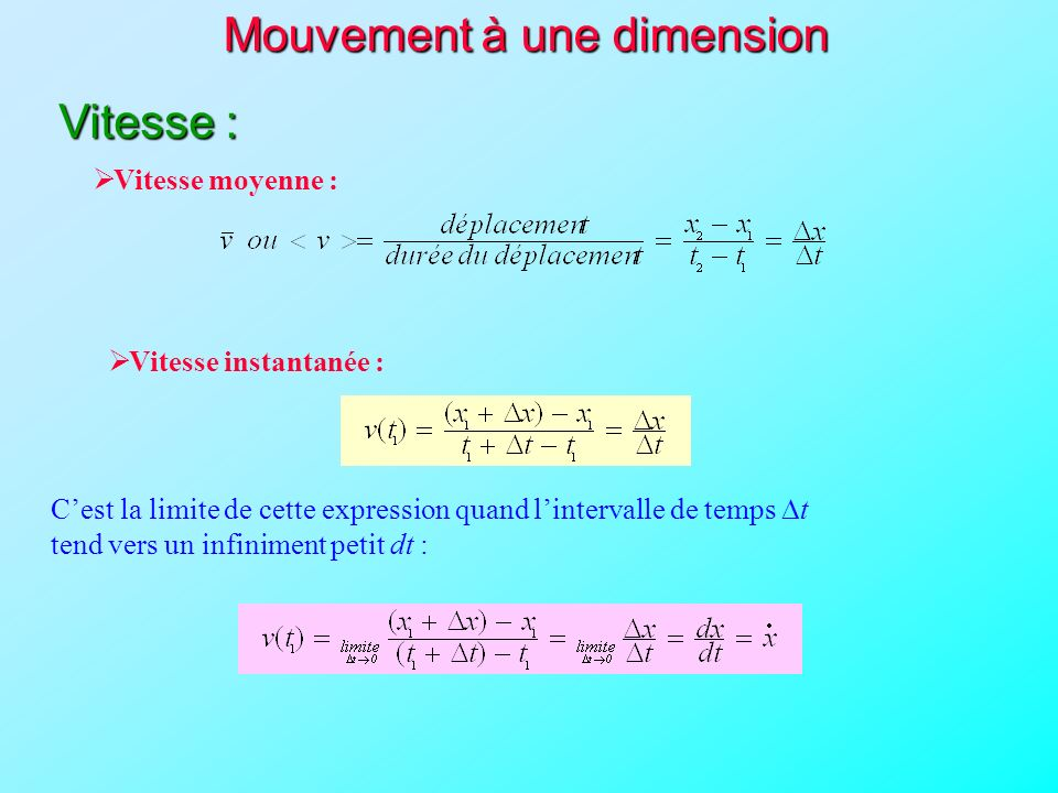 Mouvement à une dimension