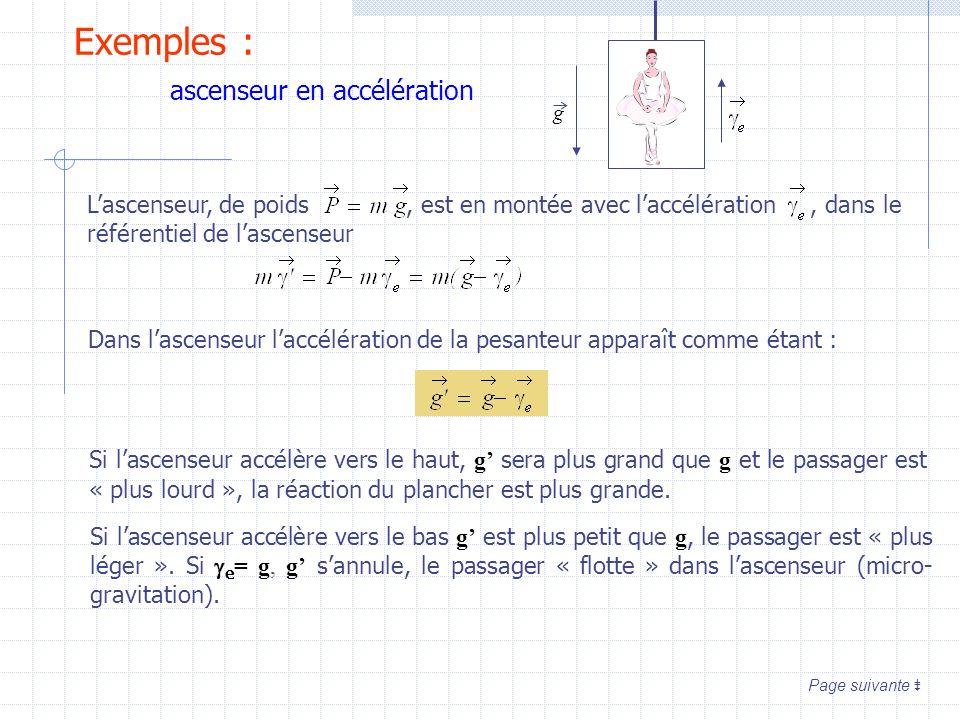 Exemples : ascenseur en accélération