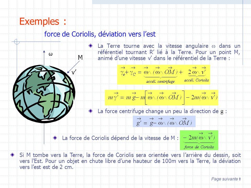 Exemples : force de Coriolis, déviation vers l'est