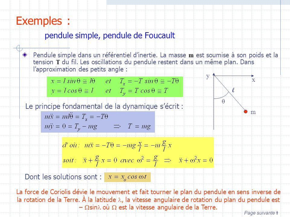Exemples : pendule simple, pendule de Foucault