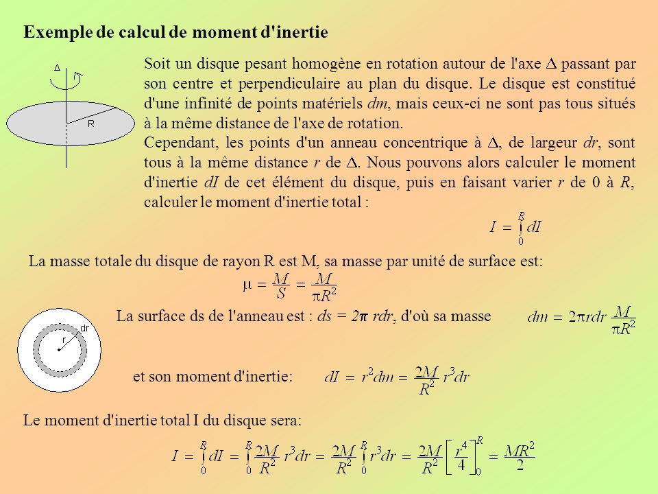 Exemple de calcul de moment d inertie