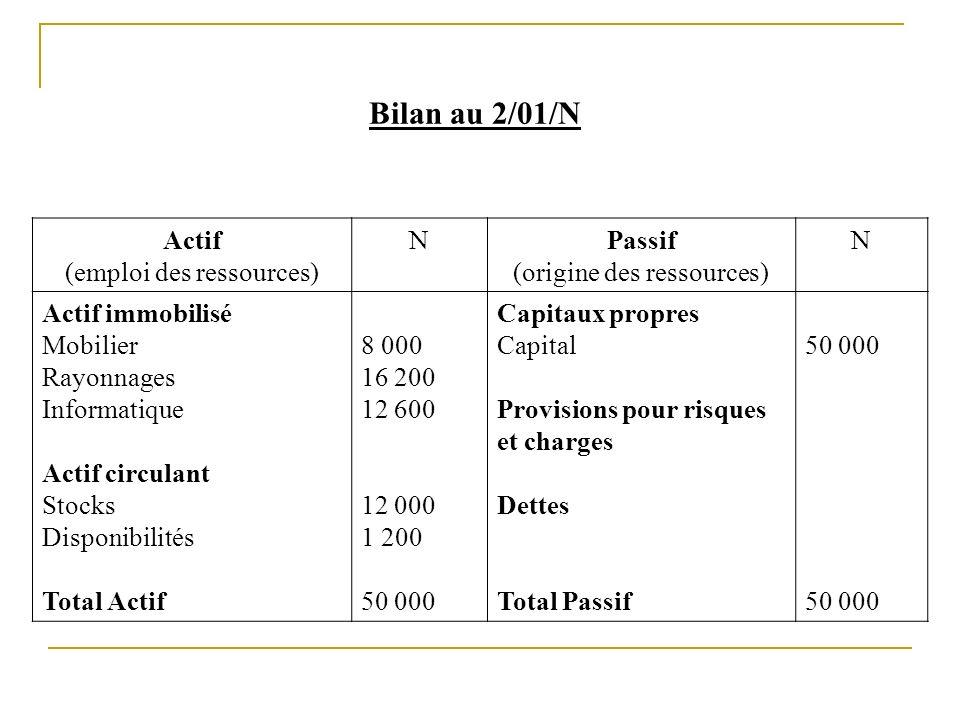 Bilan au 2/01/N Actif (emploi des ressources) N Passif
