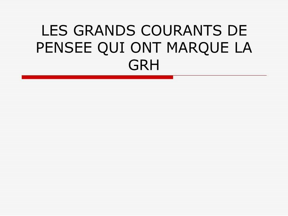 LES GRANDS COURANTS DE PENSEE QUI ONT MARQUE LA GRH