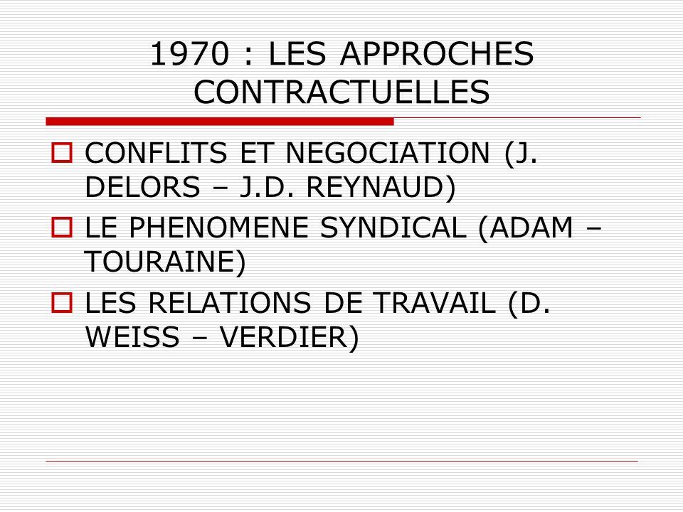 1970 : LES APPROCHES CONTRACTUELLES