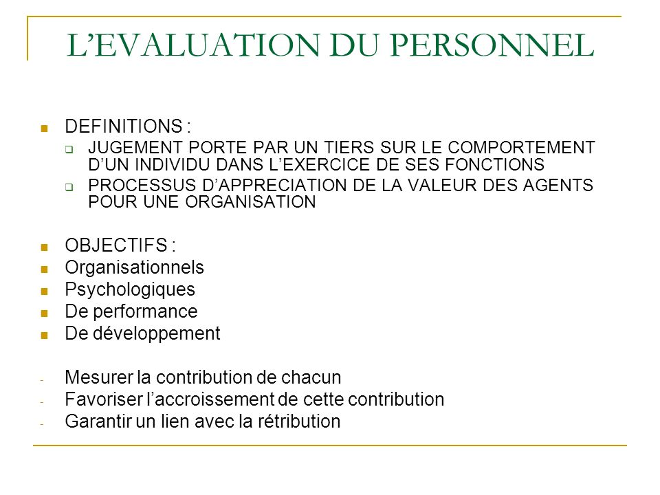 L'EVALUATION DU PERSONNEL