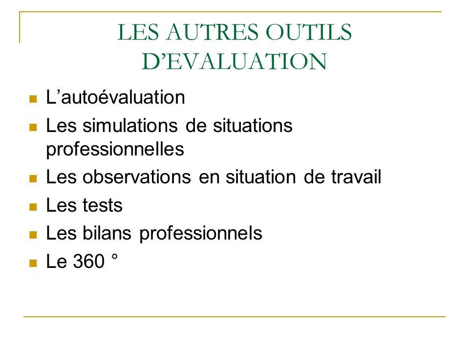 LES AUTRES OUTILS D'EVALUATION