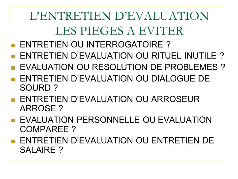 L'ENTRETIEN D'EVALUATION LES PIEGES A EVITER