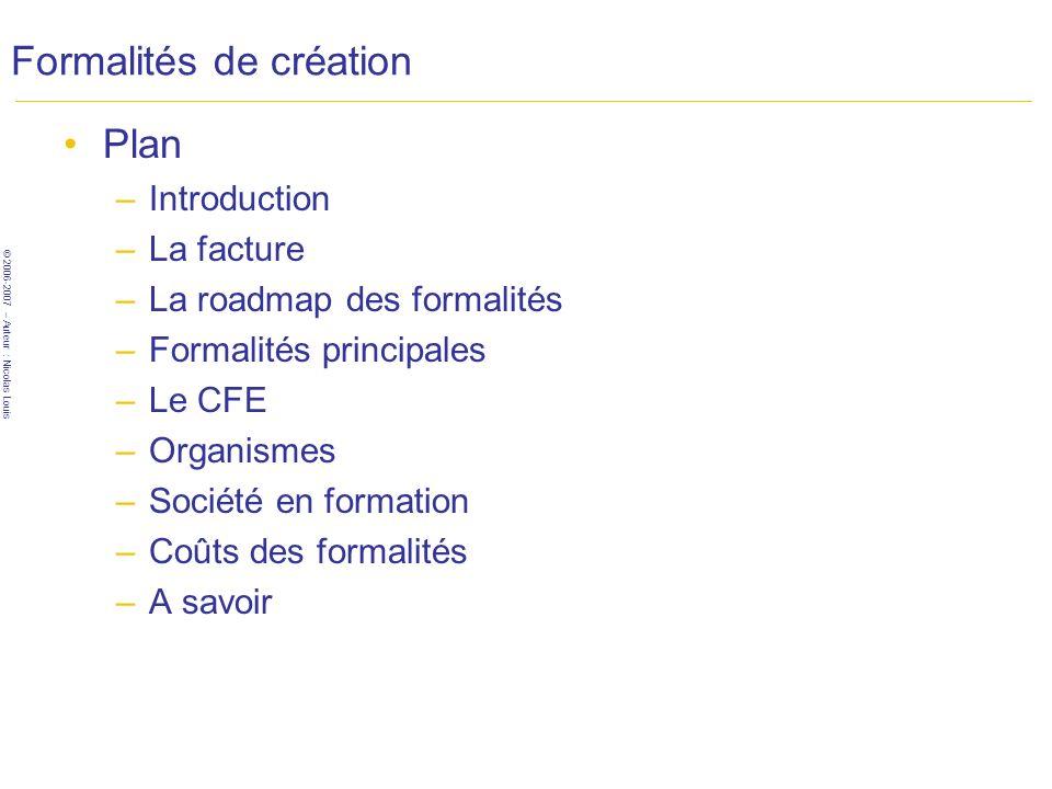 Formalités de création