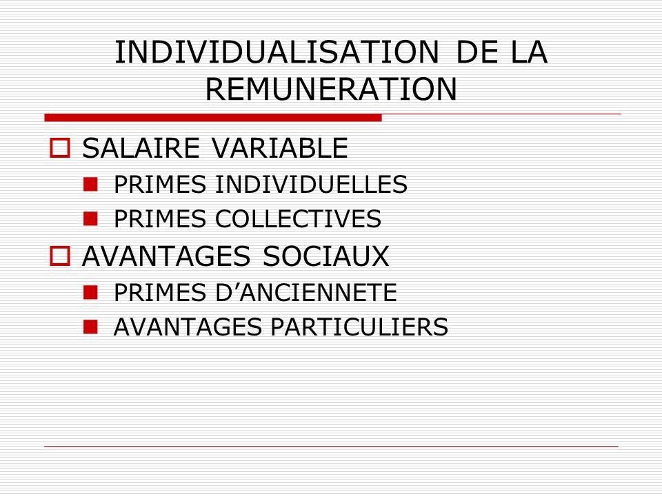 INDIVIDUALISATION DE LA REMUNERATION