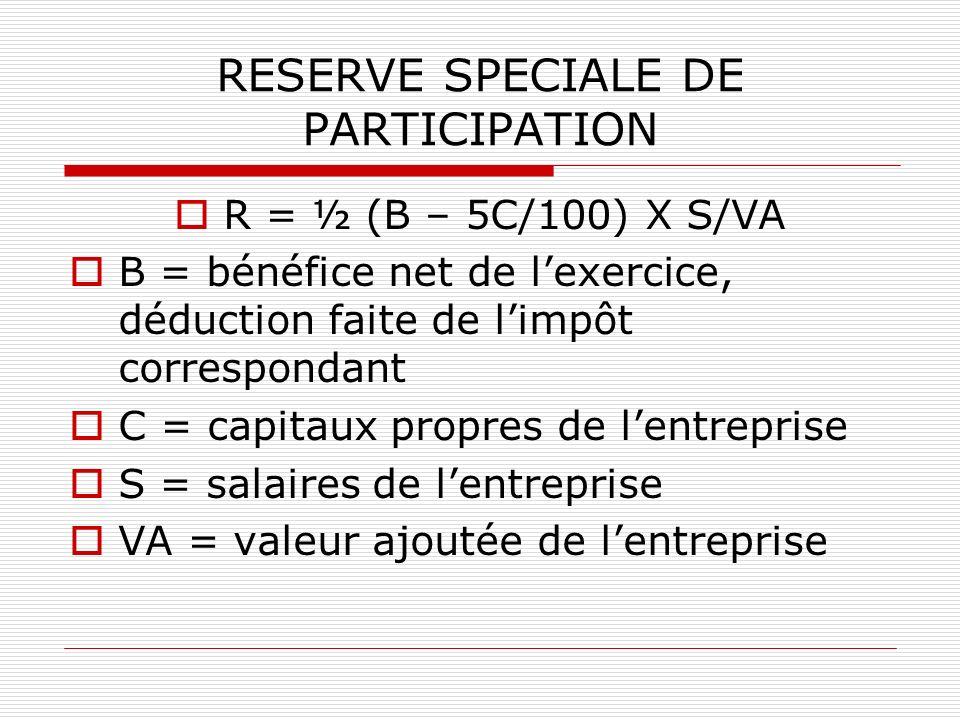 RESERVE SPECIALE DE PARTICIPATION