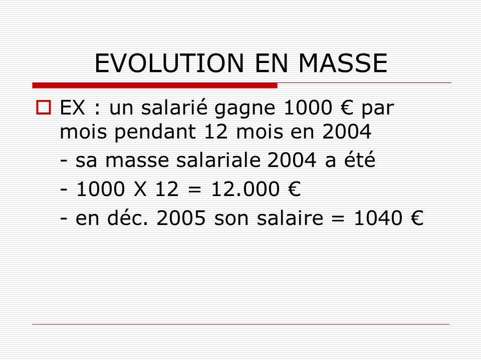 EVOLUTION EN MASSE EX : un salarié gagne 1000 € par mois pendant 12 mois en 2004. - sa masse salariale 2004 a été.