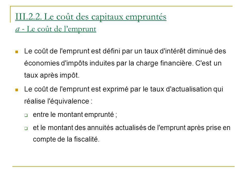 III.2.2. Le coût des capitaux empruntés a - Le coût de l'emprunt