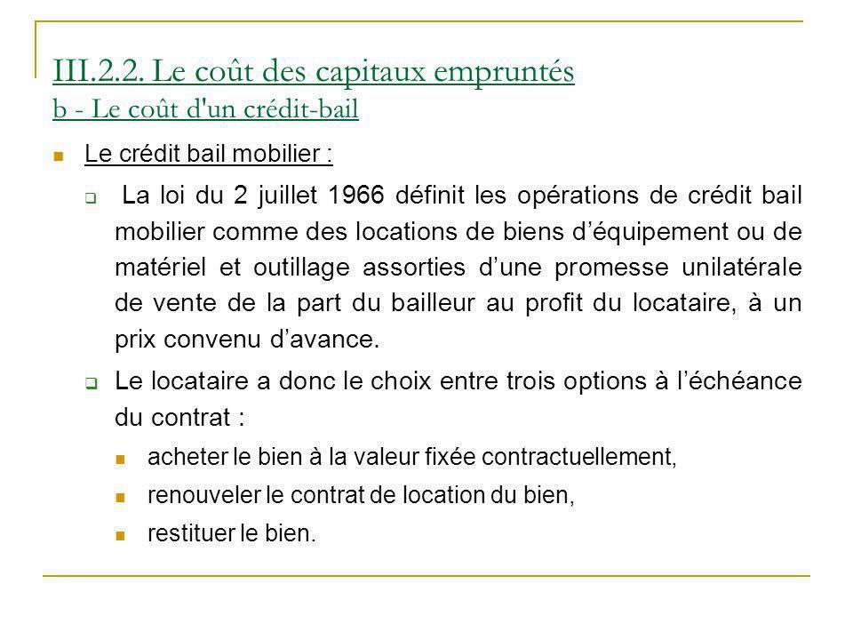 III.2.2. Le coût des capitaux empruntés b - Le coût d un crédit-bail