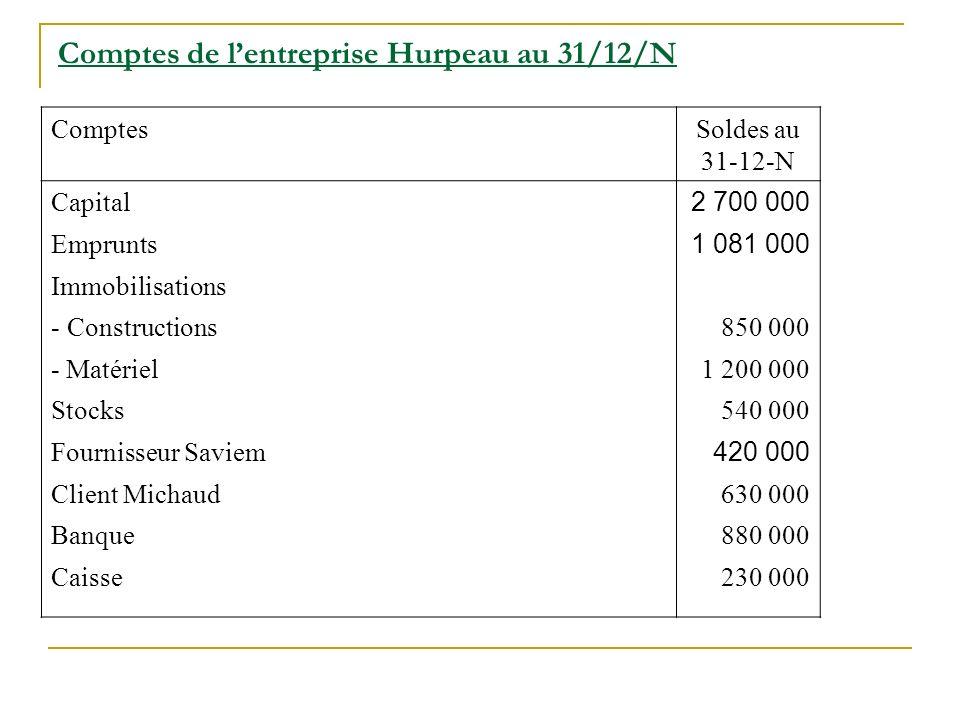 Comptes de l'entreprise Hurpeau au 31/12/N
