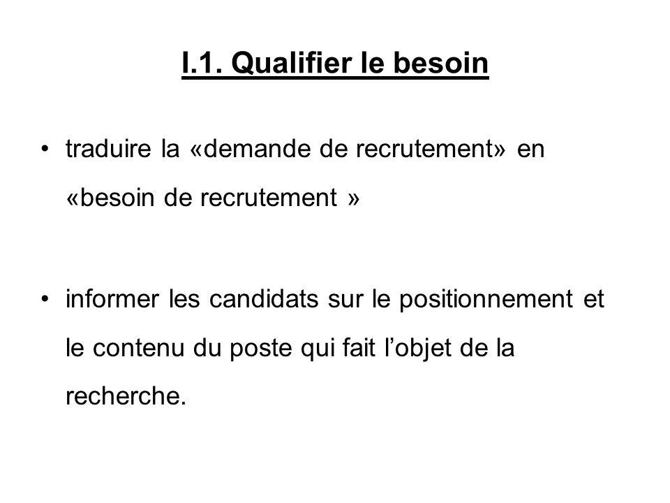 I.1. Qualifier le besoin traduire la «demande de recrutement» en «besoin de recrutement »