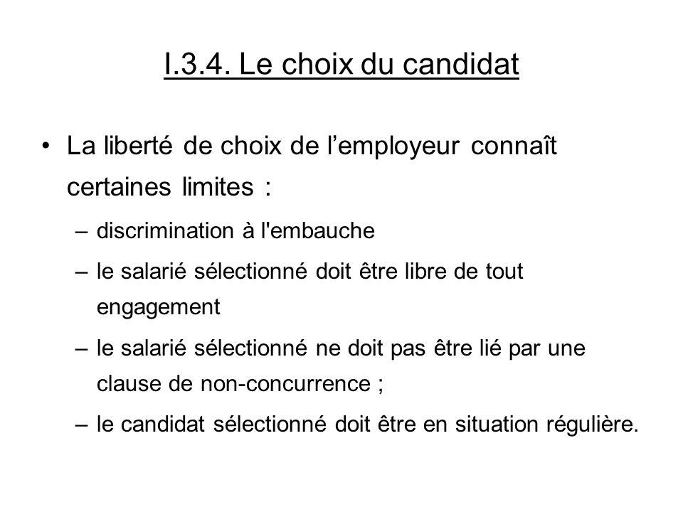 I.3.4. Le choix du candidat La liberté de choix de l'employeur connaît certaines limites : discrimination à l embauche.