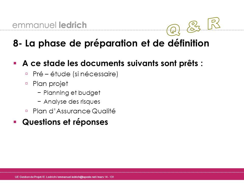 Q & R 8- La phase de préparation et de définition