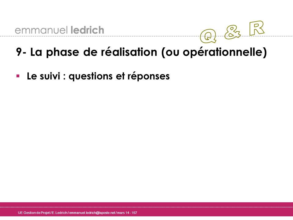 Q & R 9- La phase de réalisation (ou opérationnelle)