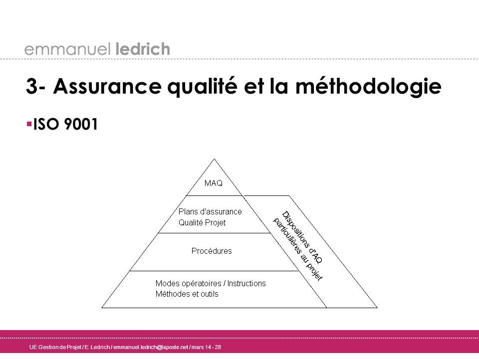 3- Assurance qualité et la méthodologie