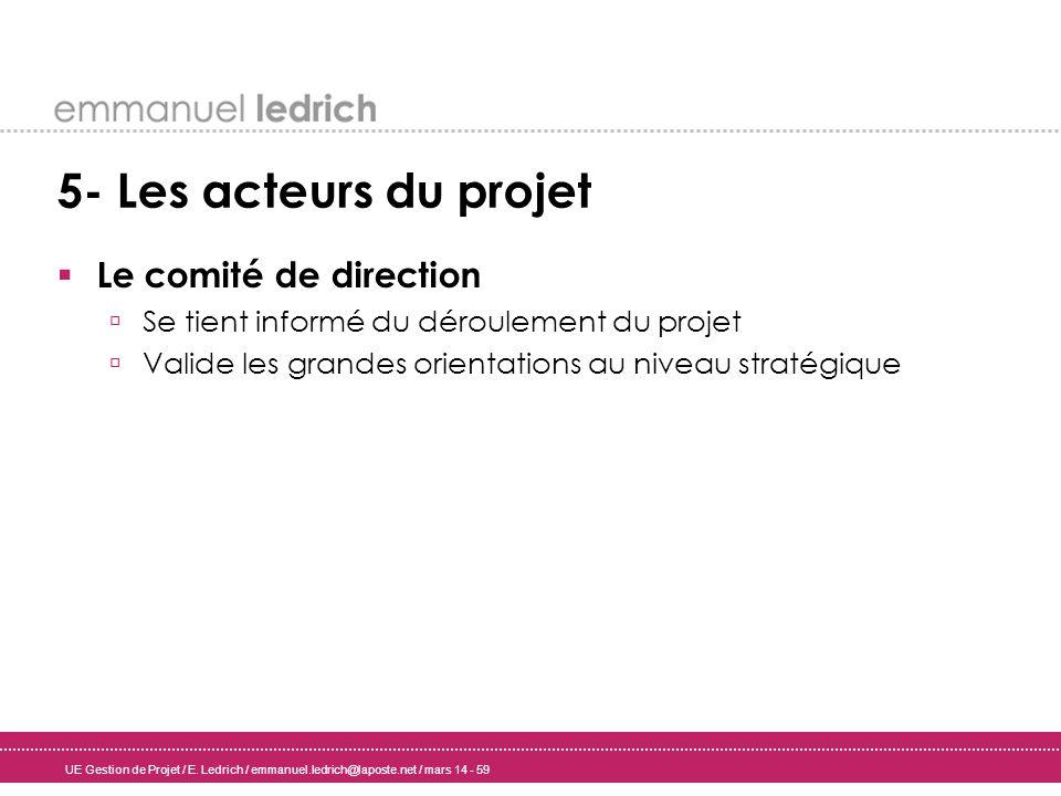5- Les acteurs du projet Le comité de direction