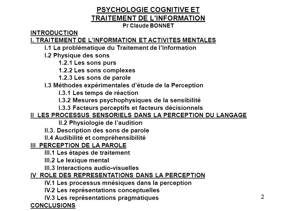 PSYCHOLOGIE COGNITIVE ET TRAITEMENT DE L INFORMATION
