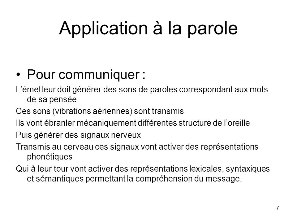 Application à la parole