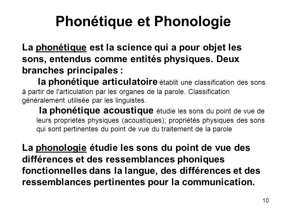 Phonétique et Phonologie