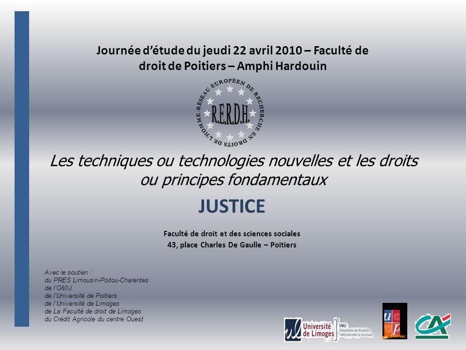 Journée d'étude du jeudi 22 avril 2010 – Faculté de droit de Poitiers – Amphi Hardouin