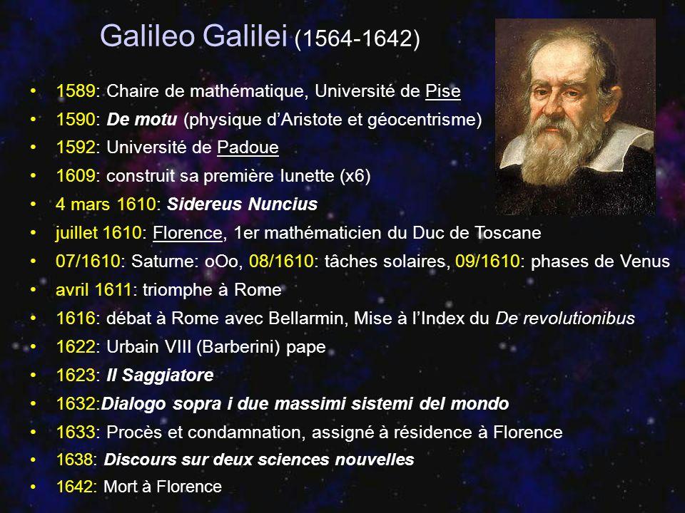 Galileo Galilei (1564-1642) 1589: Chaire de mathématique, Université de Pise. 1590: De motu (physique d'Aristote et géocentrisme)