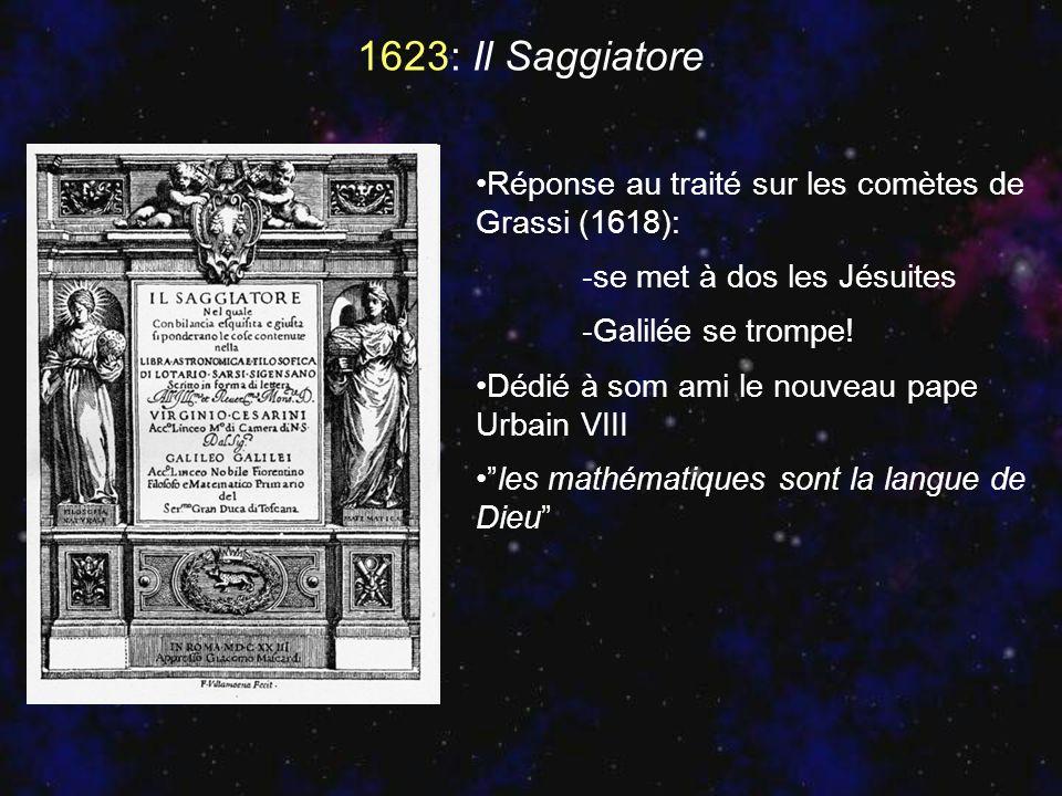 1623: Il Saggiatore Réponse au traité sur les comètes de Grassi (1618): -se met à dos les Jésuites.