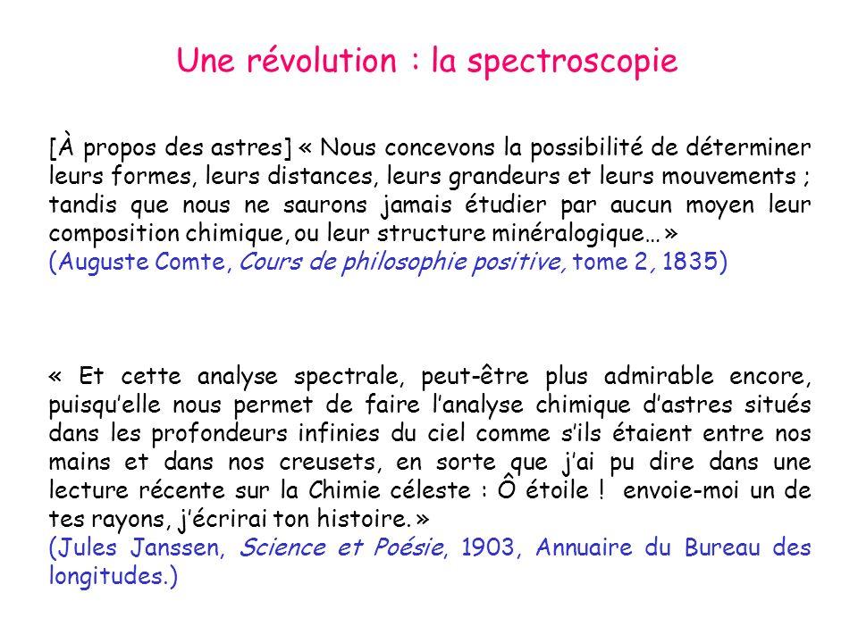 Une révolution : la spectroscopie