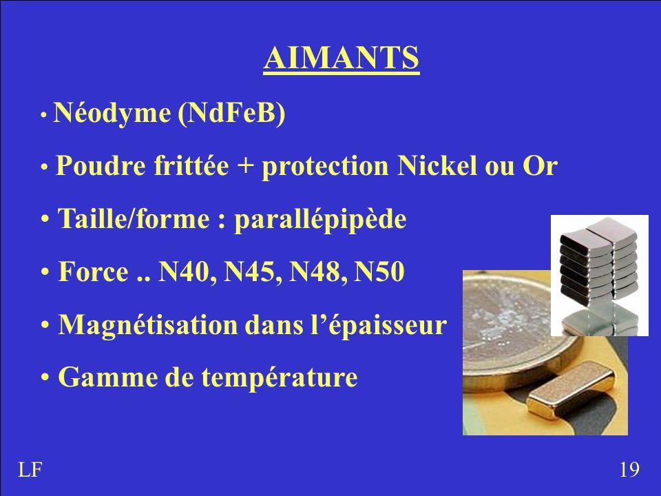 AIMANTS Taille/forme : parallépipède Force .. N40, N45, N48, N50