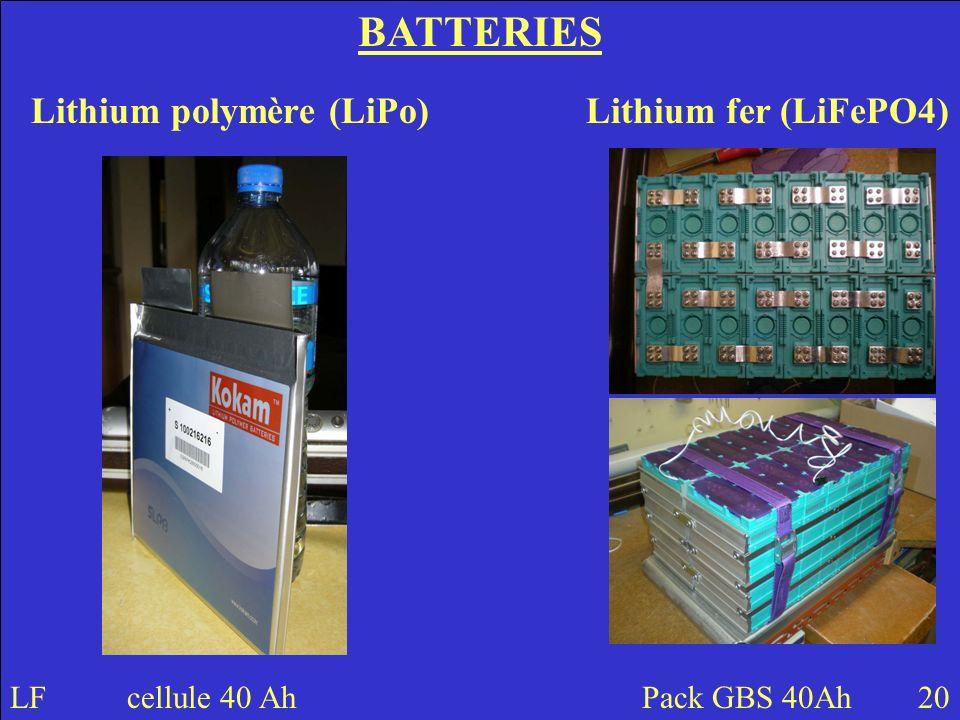 Lithium polymère (LiPo) Lithium fer (LiFePO4)