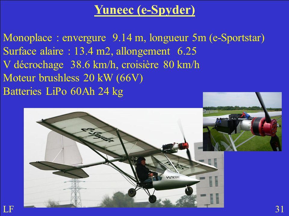 Yuneec (e-Spyder) Monoplace : envergure 9.14 m, longueur 5m (e-Sportstar) Surface alaire : 13.4 m2, allongement 6.25.