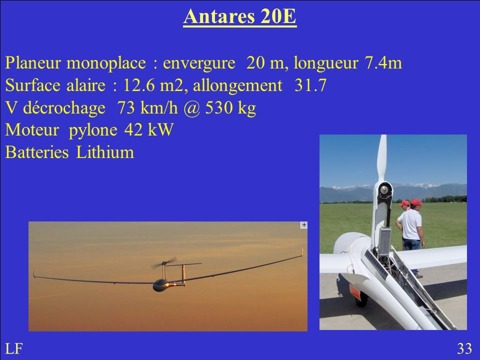 Antares 20E Planeur monoplace : envergure 20 m, longueur 7.4m Surface alaire : 12.6 m2, allongement 31.7.