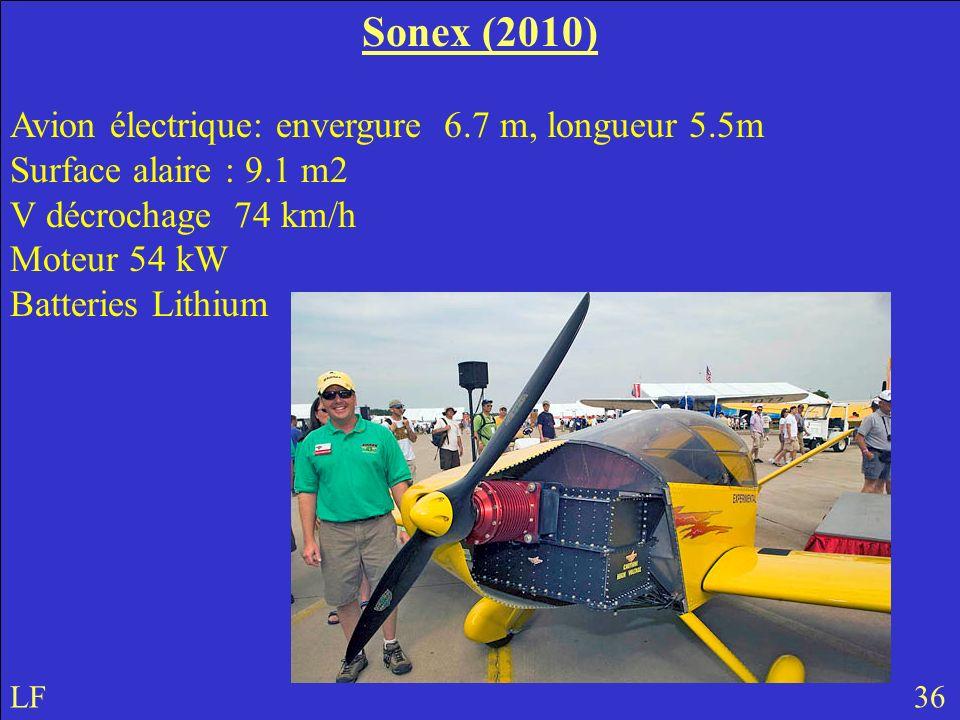 Sonex (2010) Avion électrique: envergure 6.7 m, longueur 5.5m Surface alaire : 9.1 m2. V décrochage 74 km/h Moteur 54 kW.