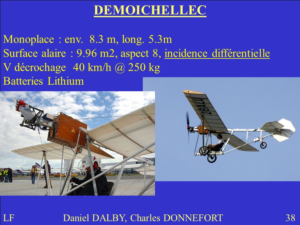 DEMOICHELLEC Monoplace : env. 8.3 m, long. 5.3m Surface alaire : 9.96 m2, aspect 8, incidence différentielle.