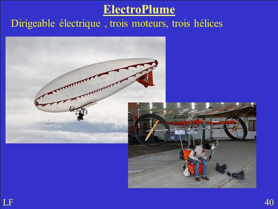 ElectroPlume Dirigeable électrique , trois moteurs, trois hélices