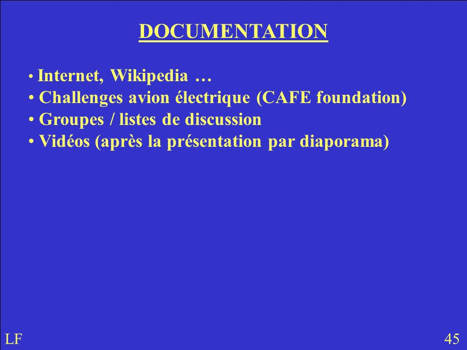 DOCUMENTATION Challenges avion électrique (CAFE foundation)