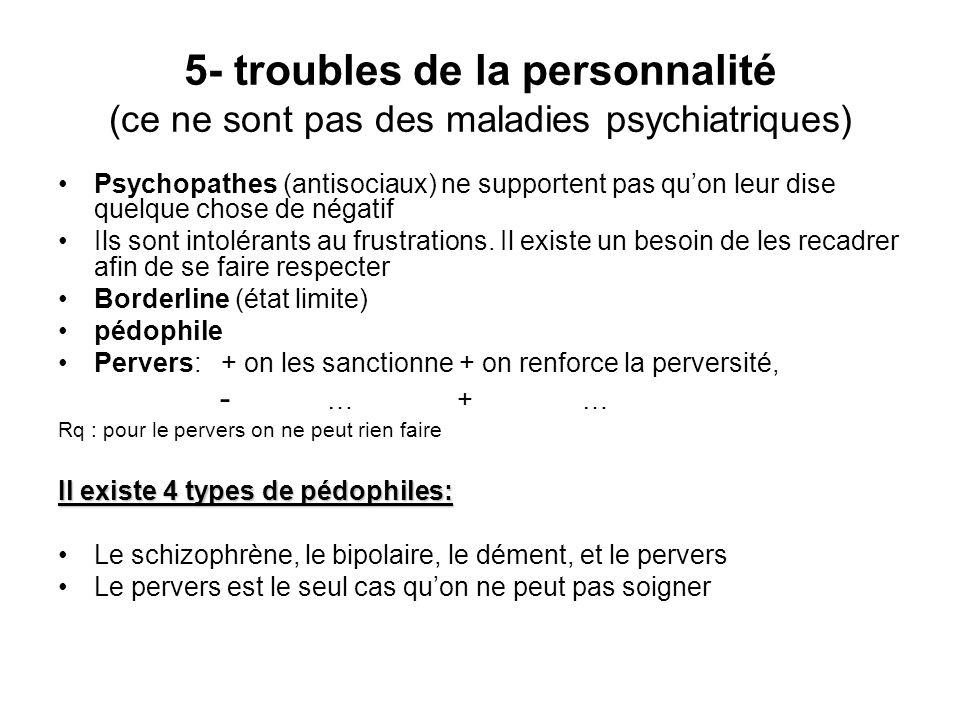 5- troubles de la personnalité (ce ne sont pas des maladies psychiatriques)