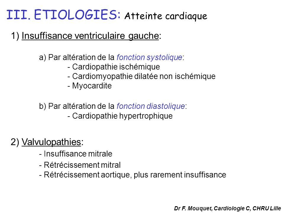 III. ETIOLOGIES: Atteinte cardiaque