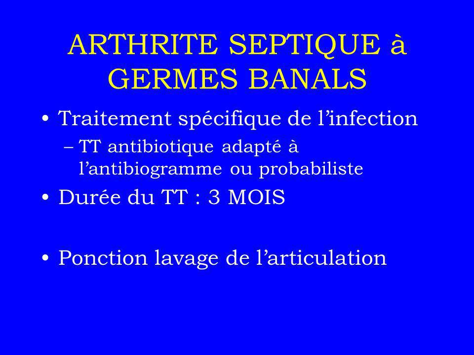 ARTHRITE SEPTIQUE à GERMES BANALS